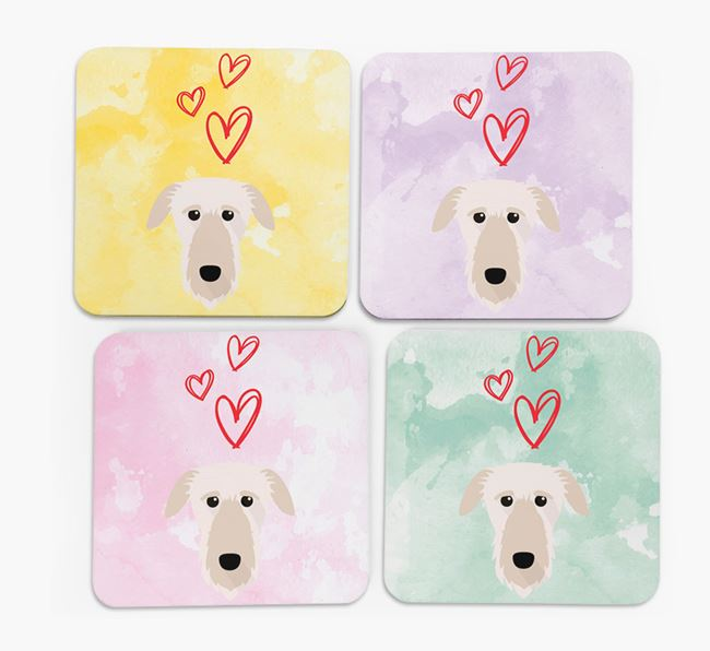 Heart Design with Deerhound Icon Coasters - Set of 4