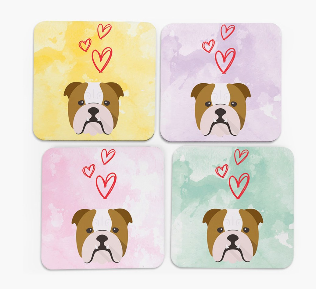 Heart Design with English Bulldog Icon Coasters in Set of 4