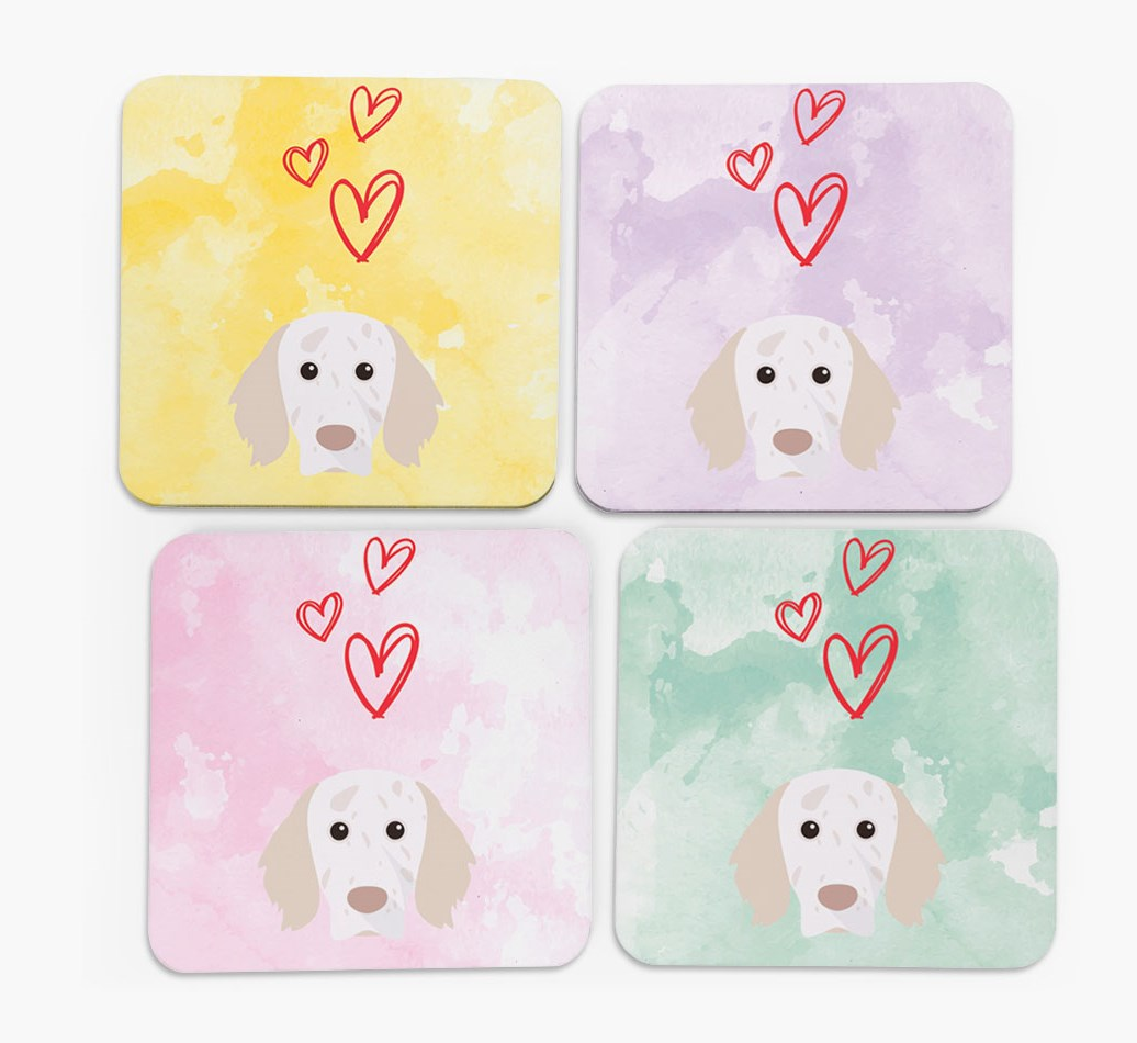 Heart Design with English Setter Icon Coasters in Set of 4