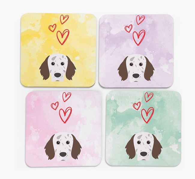 Heart Design with English Setter Icon Coasters - Set of 4