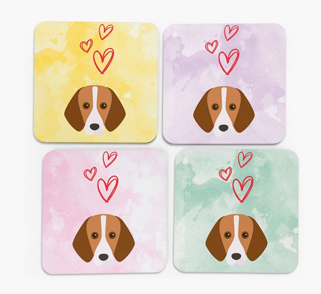 Heart Design with Foxhound Icon Coasters - Set of 4