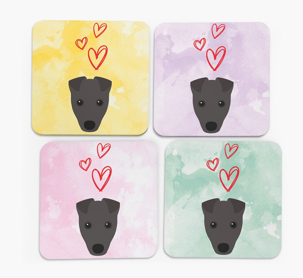 Heart Design with Fox Terrier Icon Coasters in Set of 4