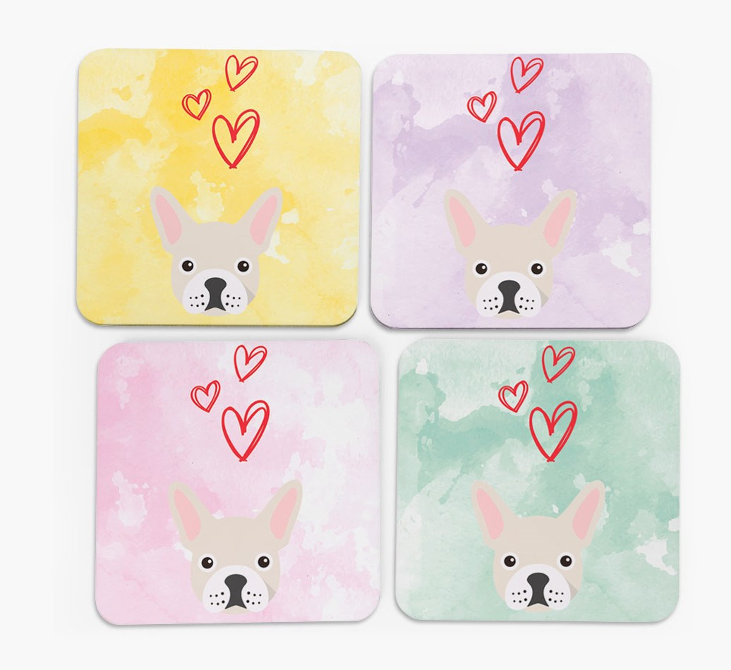 Heart Design with French Bulldog Icon Coasters in Set of 4