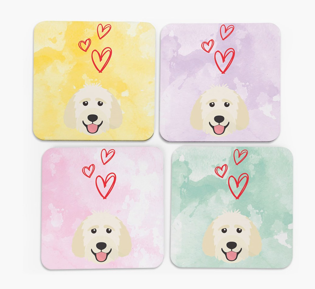 Heart Design with Goldendoodle Icon Coasters in Set of 4