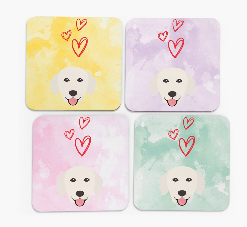Heart Design with Golden Retriever Icon Coasters in Set of 4