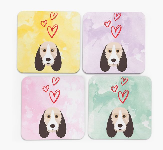 Heart Design with Grand Basset Griffon Vendeen Icon Coasters - Set of 4