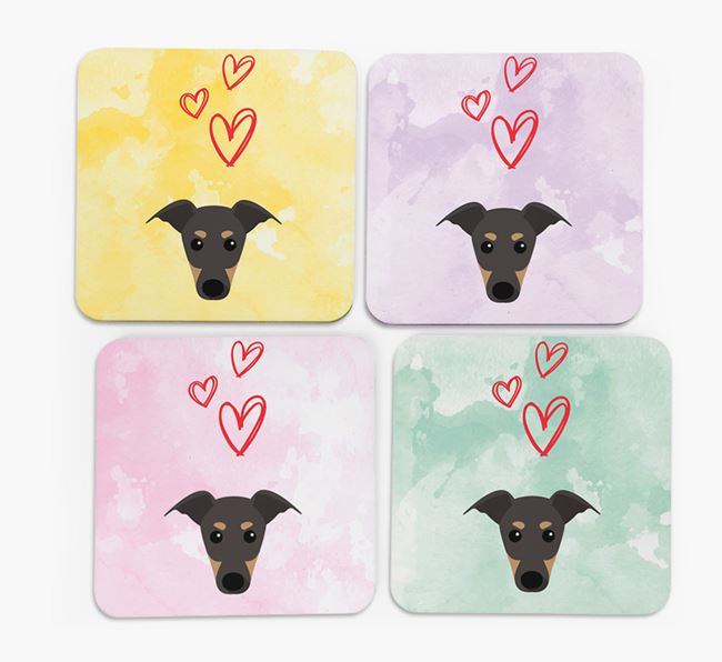 Heart Design with Greyhound Icon Coasters - Set of 4