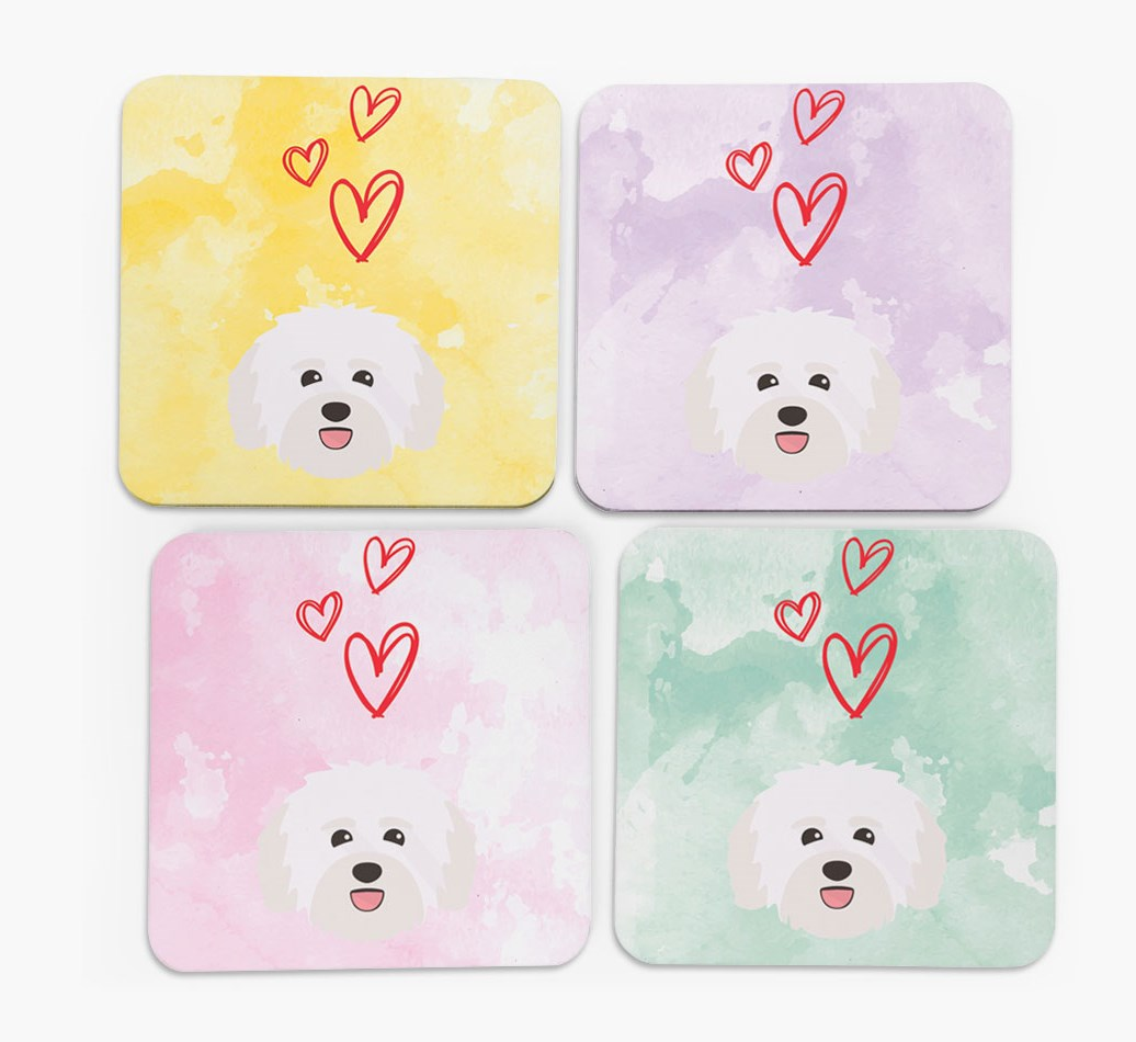 Heart Design with Havanese Icon Coasters in Set of 4