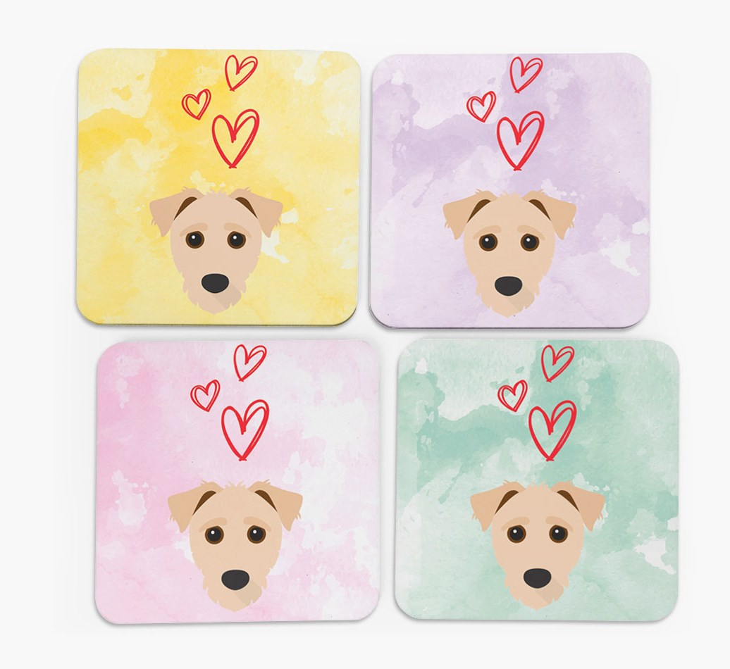 Heart Design with Jack-A-Poo Icon Coasters in Set of 4