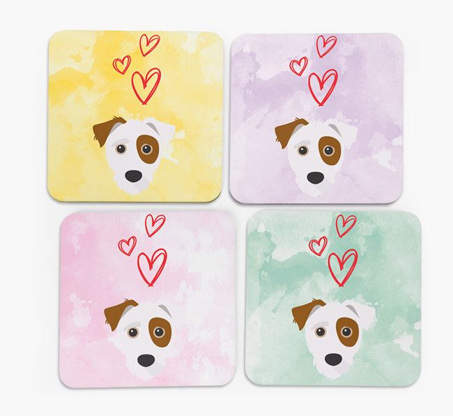 Heart Design with Jack-A-Poo Icon Coasters - Set of 4