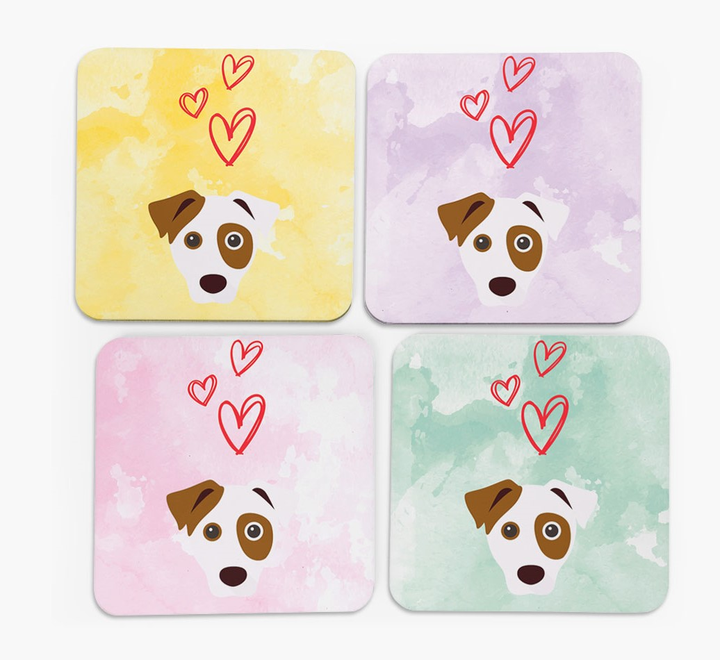 Heart Design with Dog Icon Coasters in Set of 4