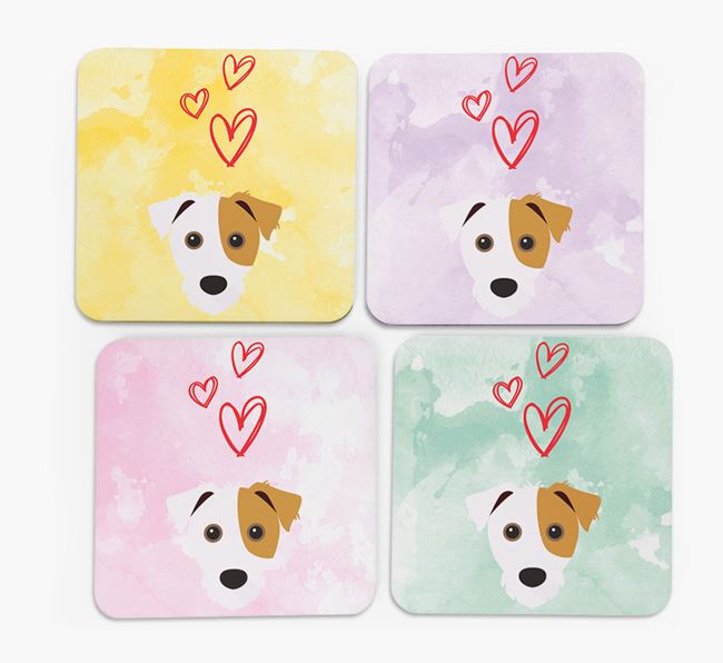 Heart Design with Jack Russell Terrier Icon Coasters - Set of 4