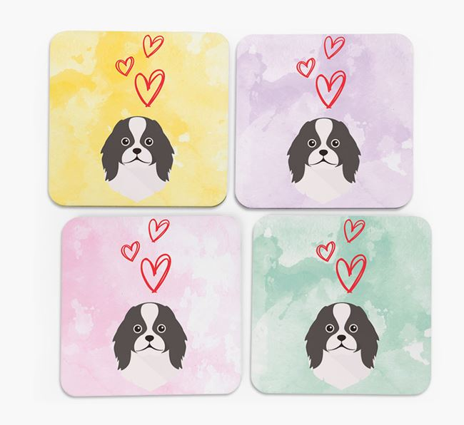 Heart Design with Japanese Chin Icon Coasters - Set of 4