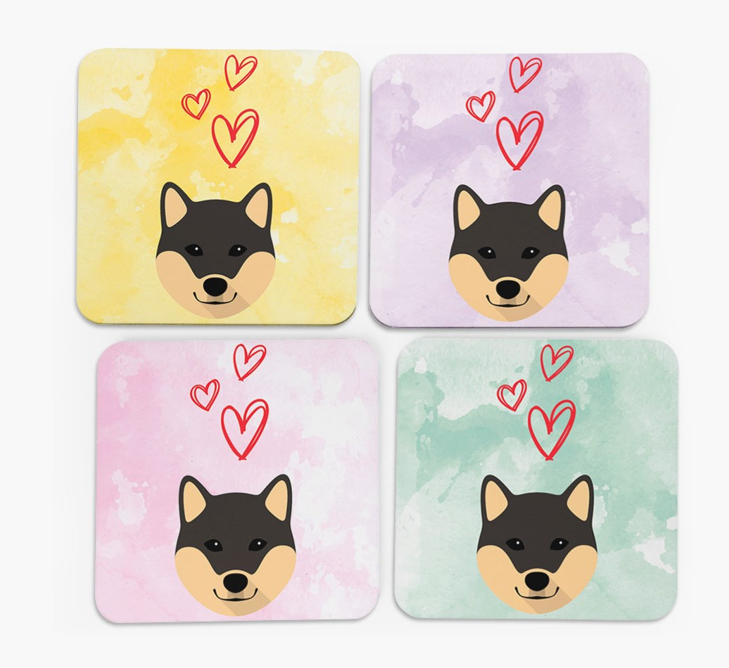 Heart Design with Japanese Shiba Icon Coasters in Set of 4