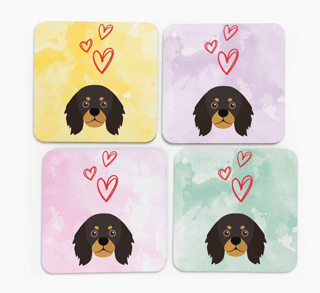 Heart Design with King Charles Spaniel Icon Coasters in Set of 4