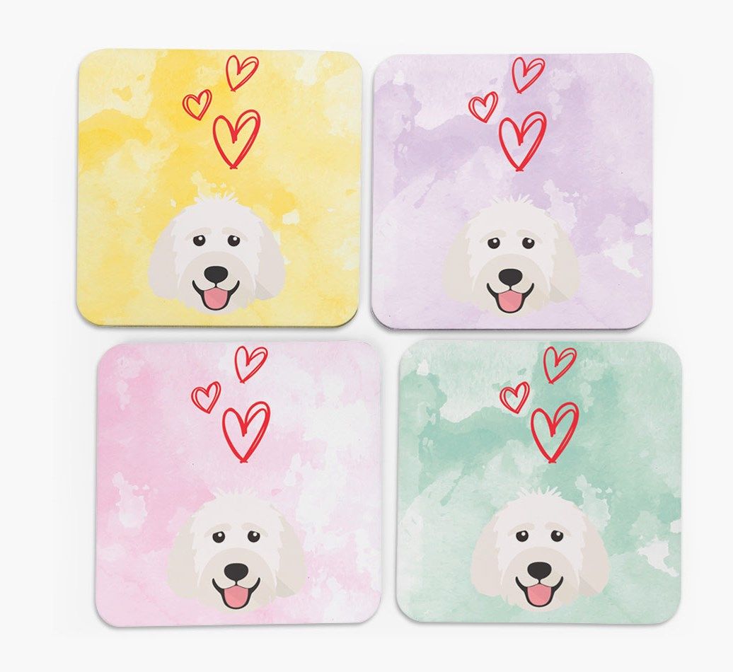Heart Design with Labradoodle Icon Coasters in Set of 4