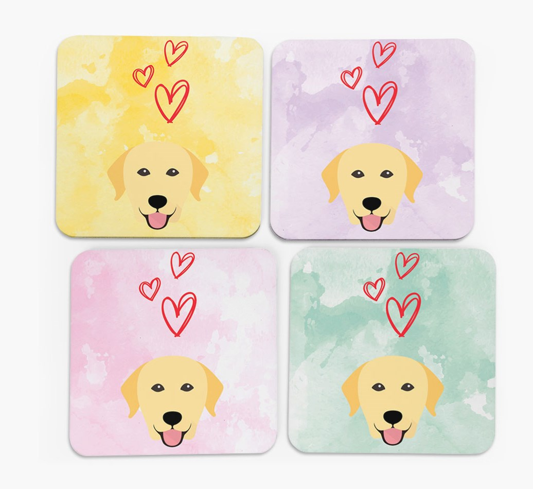 Heart Design with Labrador Retriever Icon Coasters in Set of 4