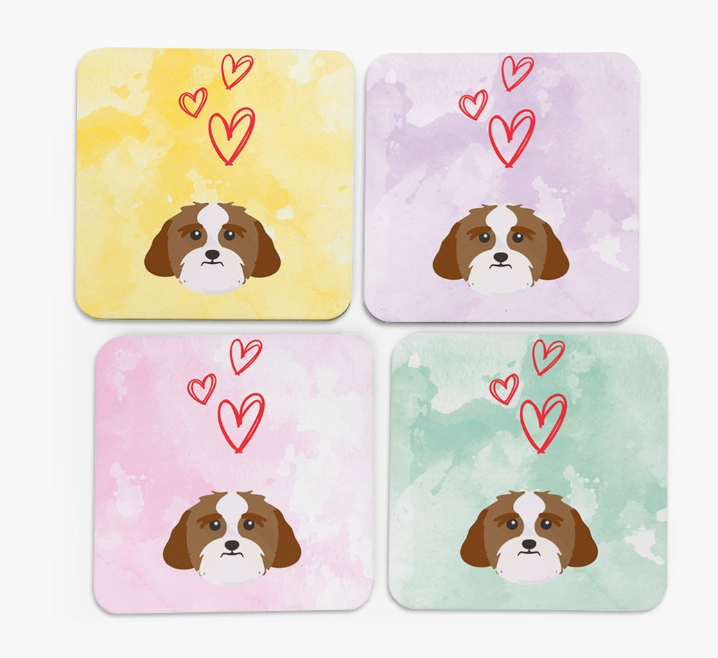 Heart Design with Lhasa Apso Icon Coasters in Set of 4