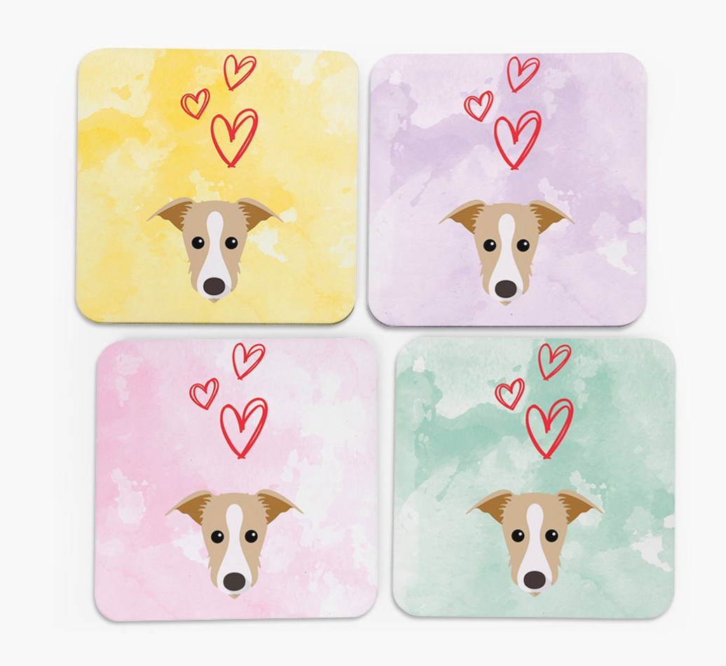 Heart Design with Lurcher Icon Coasters in Set of 4