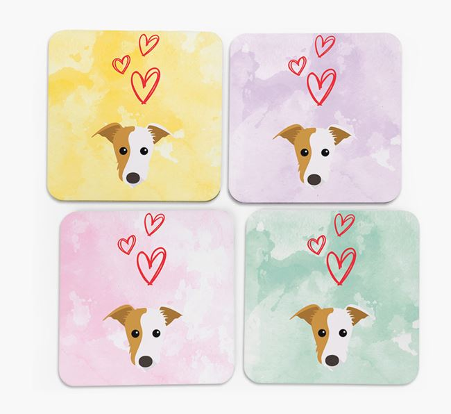 Heart Design with Lurcher Icon Coasters - Set of 4