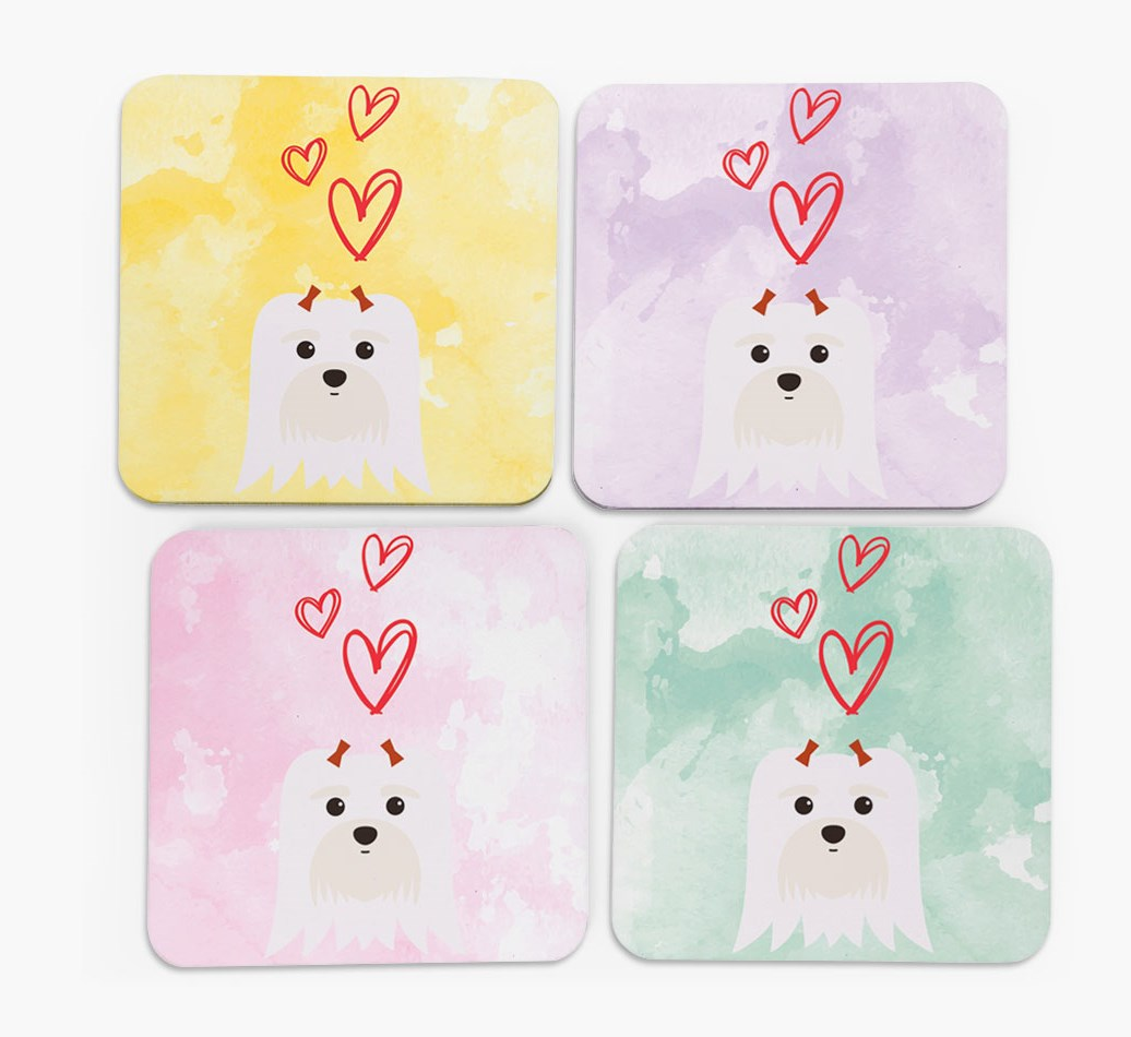 Heart Design with Maltese Icon Coasters in Set of 4