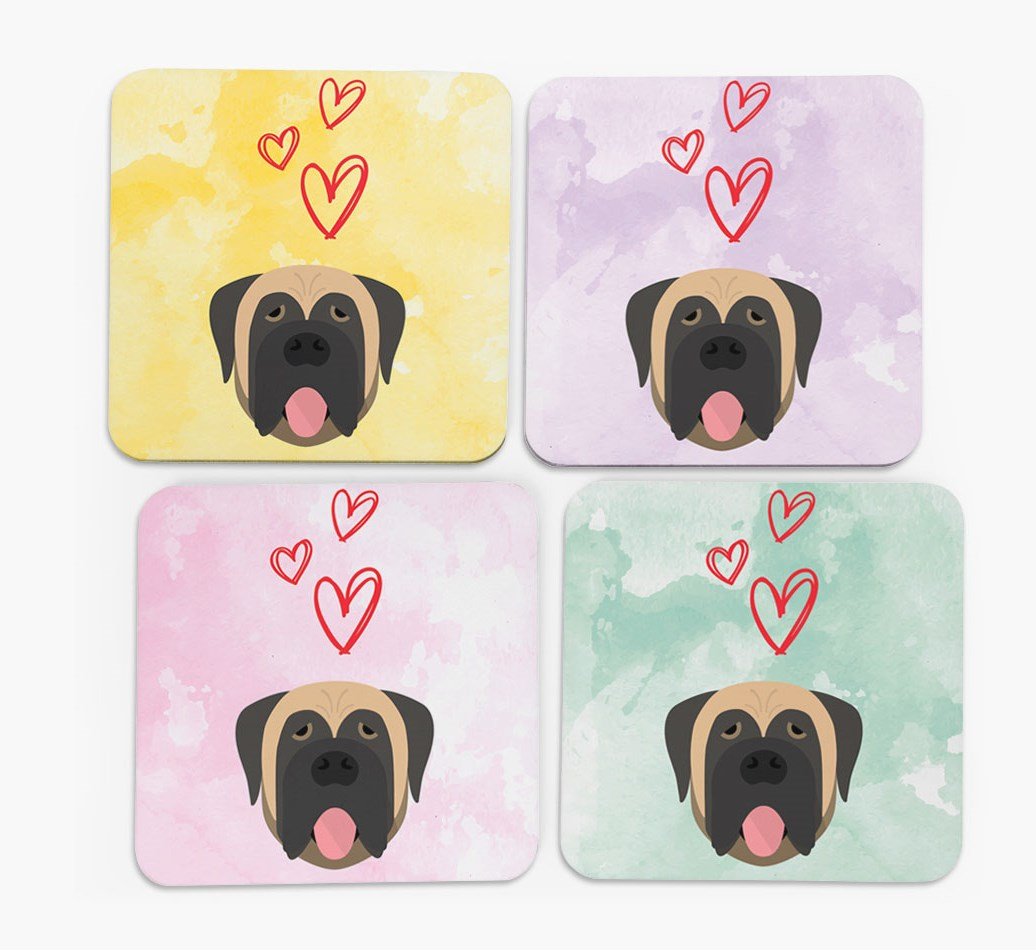 Heart Design with Mastiff Icon Coasters in Set of 4