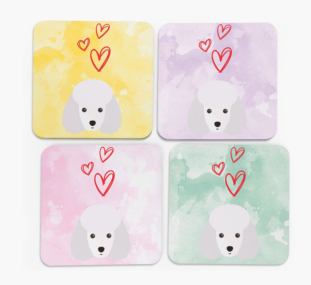 Heart Design with Miniature Poodle Icon Coasters in Set of 4