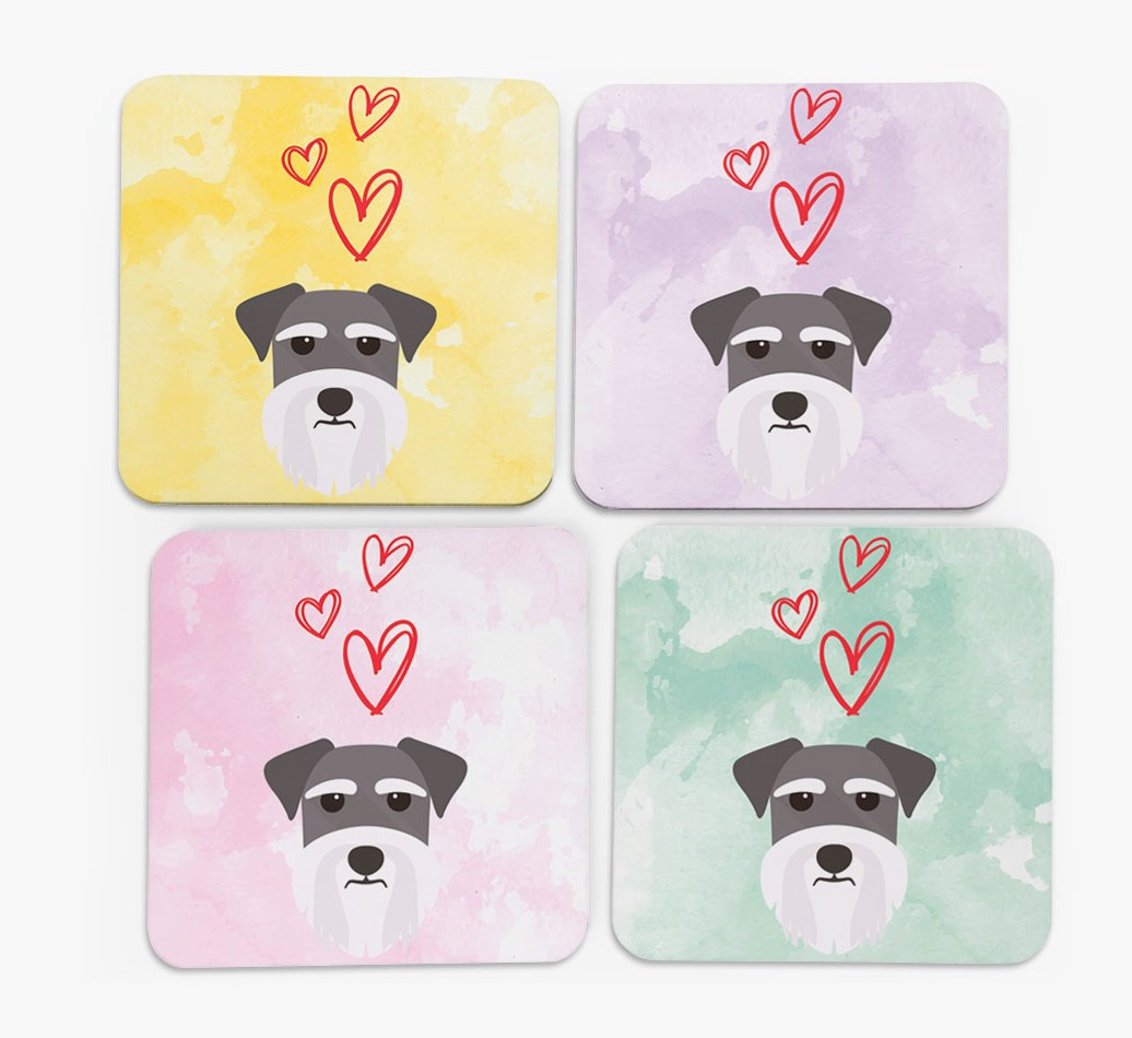 Heart Design with Miniature Schnauzer Icon Coasters in Set of 4