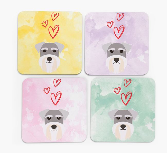 Heart Design with Miniature Schnauzer Icon Coasters - Set of 4