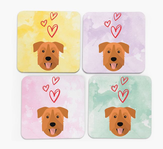 Heart Design with Mixed Breed Icon Coasters - Set of 4