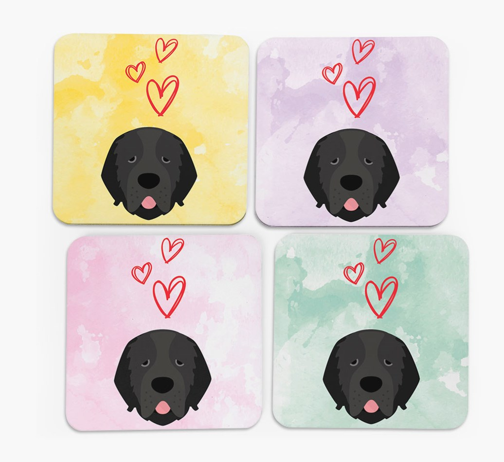 Heart Design with Newfoundland Icon Coasters in Set of 4