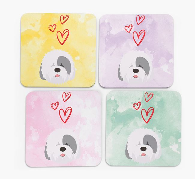 Heart Design with Old English Sheepdog Icon Coasters - Set of 4