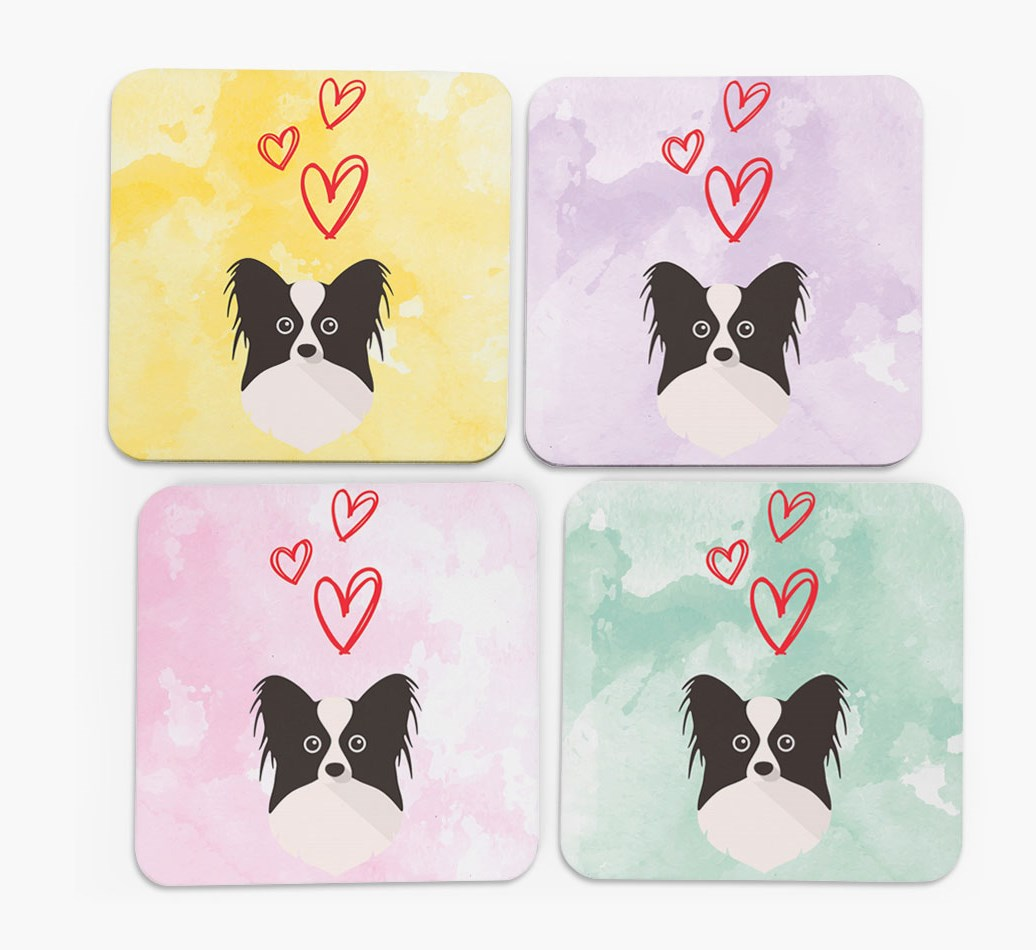 Heart Design with Papillon Icon Coasters in Set of 4
