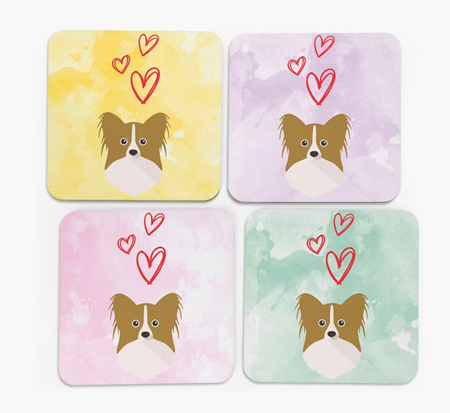 Heart Design with Papillon Icon Coasters - Set of 4