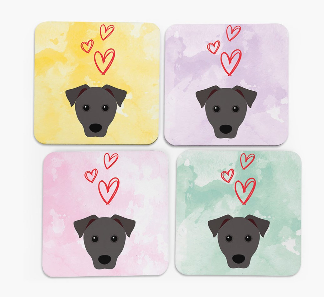 Heart Design with Patterdale Terrier Icon Coasters in Set of 4