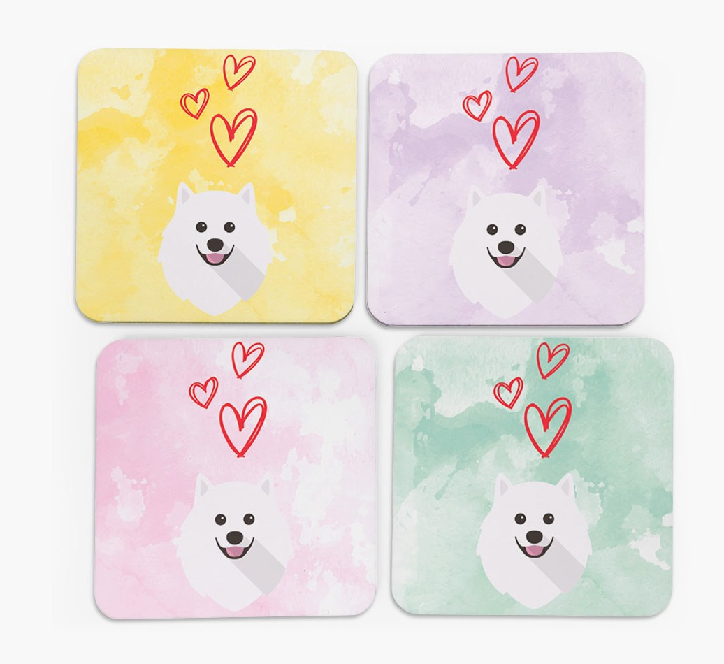 Heart Design with Pomeranian Icon Coasters in Set of 4