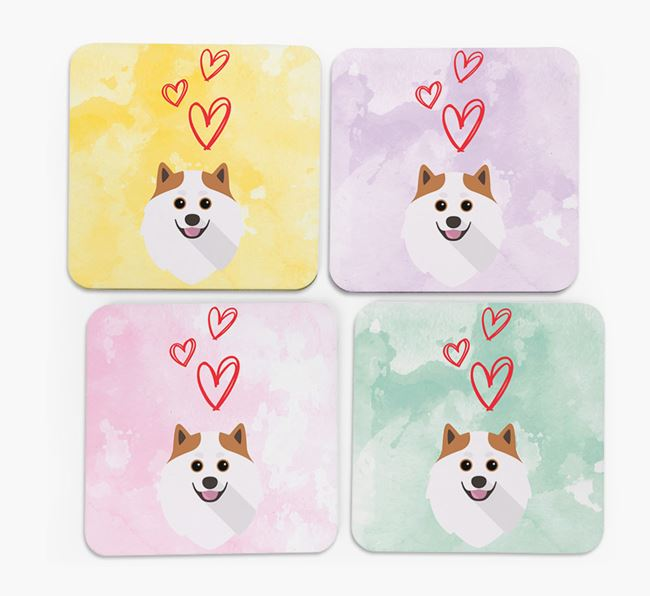 Heart Design with Pomeranian Icon Coasters - Set of 4