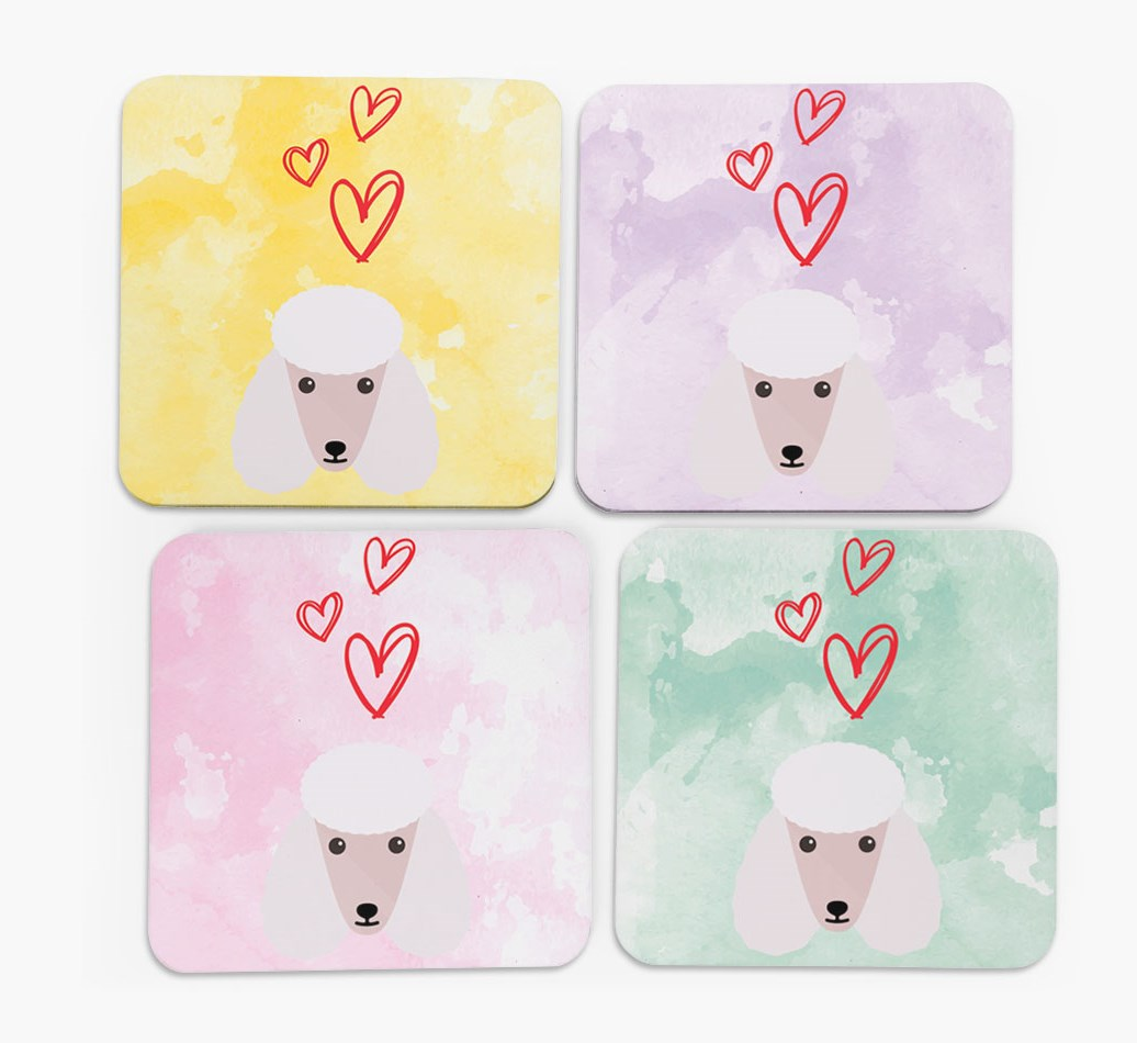 Heart Design with Poodle Icon Coasters in Set of 4