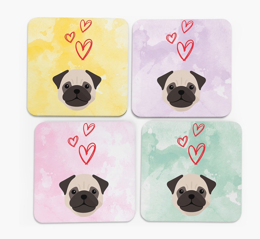 Heart Design with Pug Icon Coasters in Set of 4