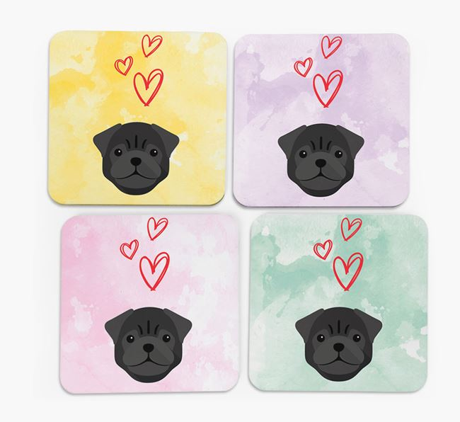 Heart Design with Pug Icon Coasters - Set of 4