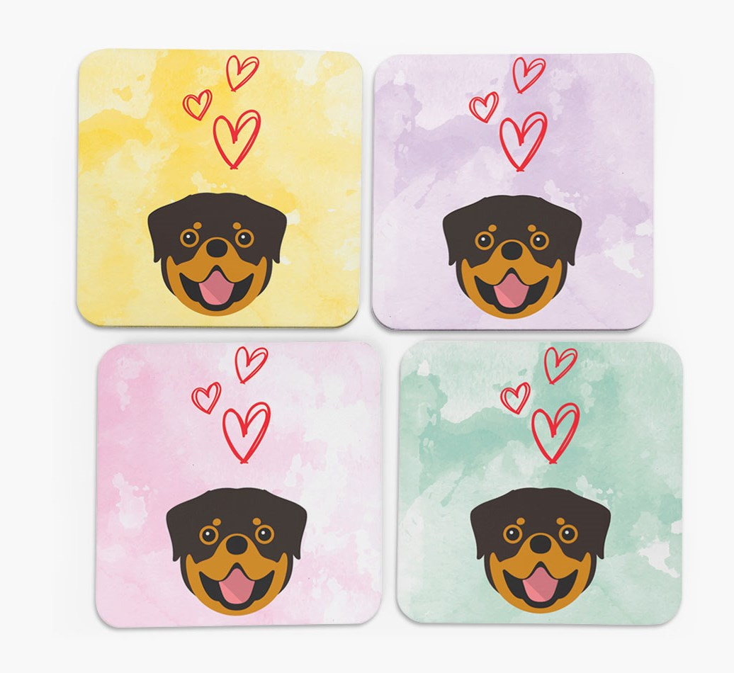 Heart Design with Rottweiler Icon Coasters in Set of 4