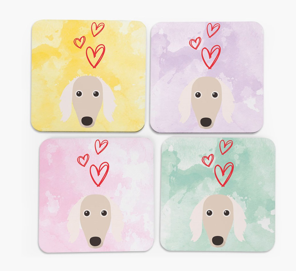 Heart Design with Saluki Icon Coasters in Set of 4