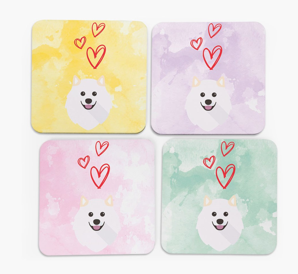 Heart Design with Samoyed Icon Coasters in Set of 4