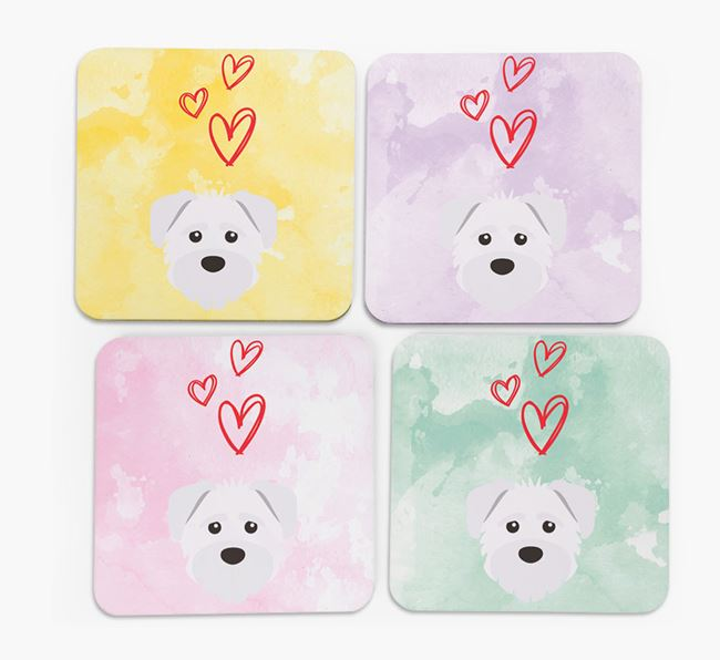 Heart Design with Schnoodle Icon Coasters - Set of 4