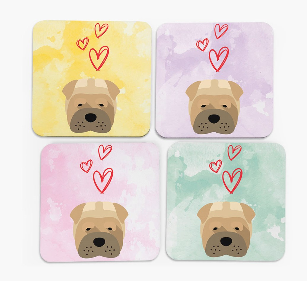 Heart Design with Shar Pei Icon Coasters in Set of 4