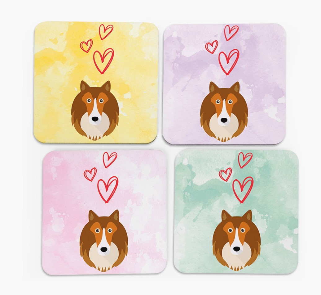 Heart Design with Shetland Sheepdog Icon Coasters in Set of 4