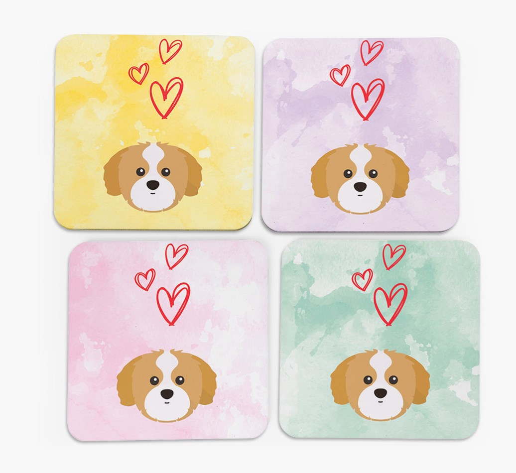 Heart Design with Shih Tzu Icon Coasters in Set of 4