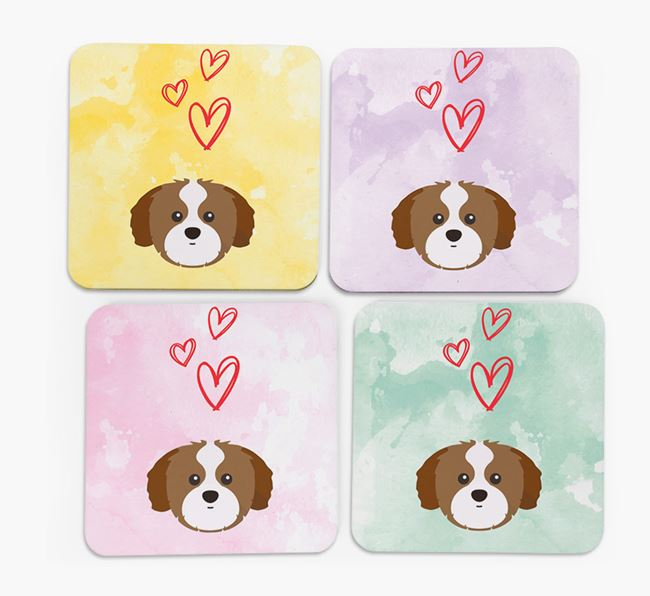 Heart Design with Shih Tzu Icon Coasters - Set of 4