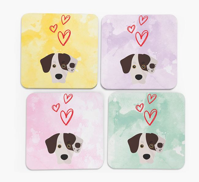Heart Design with Siberian Cocker Icon Coasters - Set of 4