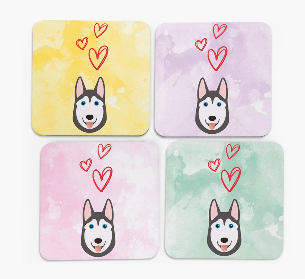 Heart Design with Siberian Husky Icon Coasters in Set of 4